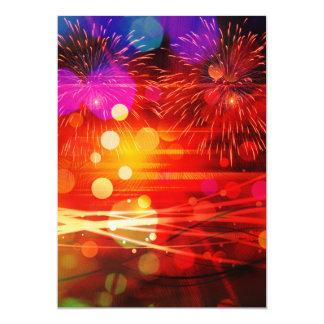 Light Up the Sky Light Rays and Fireworks 13 Cm X 18 Cm Invitation Card