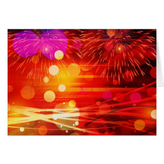 Light Up the Sky Light Rays and Fireworks Note Card