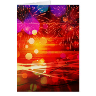 Light Up the Sky Light Rays and Fireworks Greeting Card