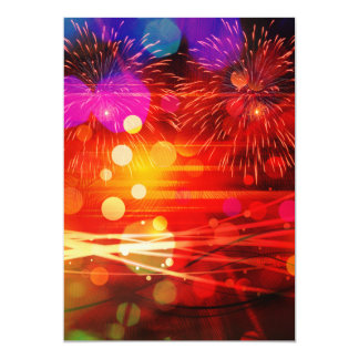 Light Up the Sky Light Rays and Fireworks 5x7 Paper Invitation Card
