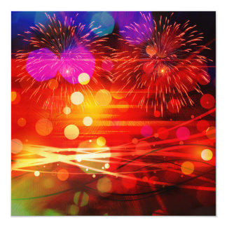 Light Up the Sky Light Rays and Fireworks 5.25x5.25 Square Paper Invitation Card