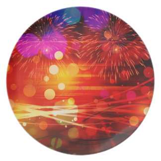 Light Up the Sky Light Rays and Fireworks Dinner Plate