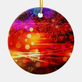 Light Up the Sky Light Rays and Fireworks Round Ceramic Decoration