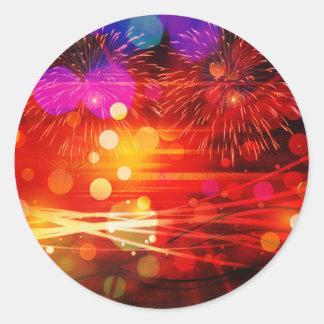 Light Up the Sky Light Rays and Fireworks Round Sticker