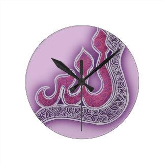 light violet Allah henna Round Clock