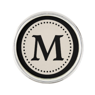 Light Warm Gray Black Monogram Lapel Pin