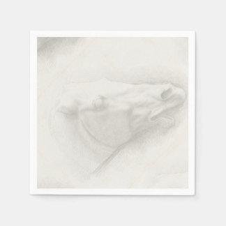 Light White Head Horse Portrait Vintage Drawing Paper Serviettes