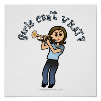 Light Woman Playing Trumpet Poster