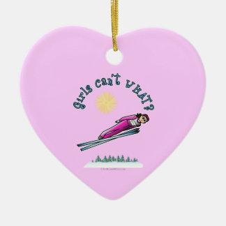 Light Women's Ski Jumping Ceramic Heart Decoration