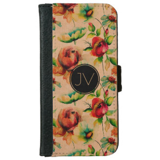 Light Wood Texture Watercolor Red Roses iPhone 6 Wallet Case