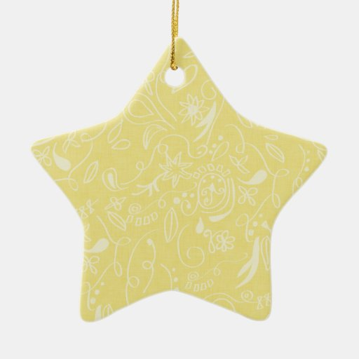 Light Yellow and White Floral Swirls Christmas Tree Ornament