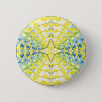 Light Yellow Blue Circular Artistic Pattern 6 Cm Round Badge