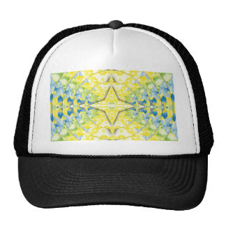 Light Yellow Blue Circular Artistic Pattern Cap