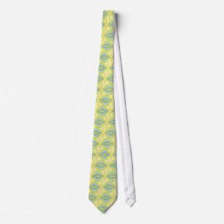 Light Yellow Blue Circular Artistic Pattern Tie