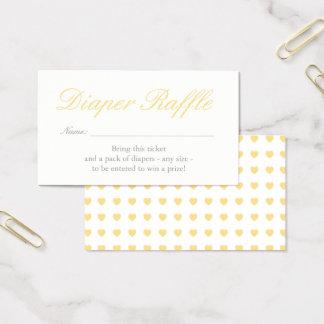 Light Yellow Hearts Diaper Raffle Card
