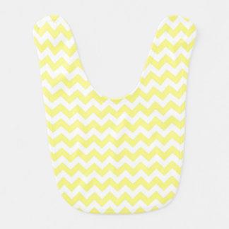 Light Yellow White Chevron Zig-Zag Pattern Baby Bibs