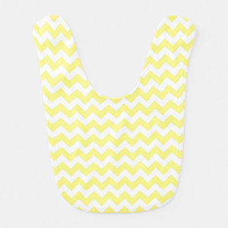Light Yellow White Chevron Zig-Zag Pattern Baby Bibs