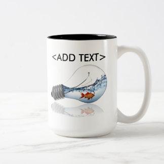 Lightbulb Goldfish Tank Two-Tone Coffee Mug