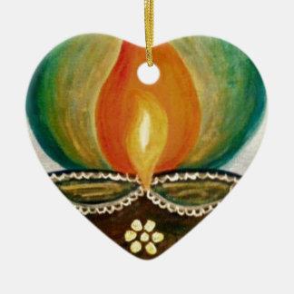 lighted diya ceramic heart decoration