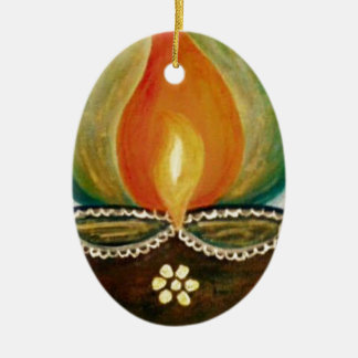 lighted diya ceramic oval decoration