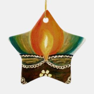 lighted diya ceramic star decoration