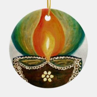 lighted diya round ceramic decoration