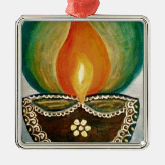 lighted diya Silver-Colored square decoration