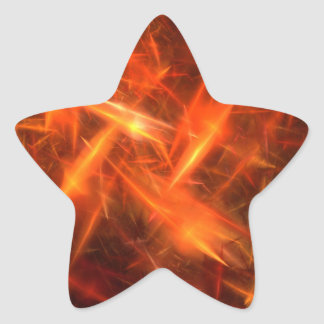 lightening Orange Abstract Fractal Star Sticker