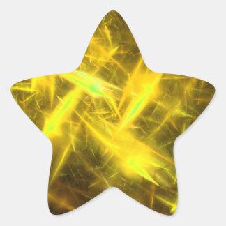 lightening Yellow Abstract Fractal Star Sticker