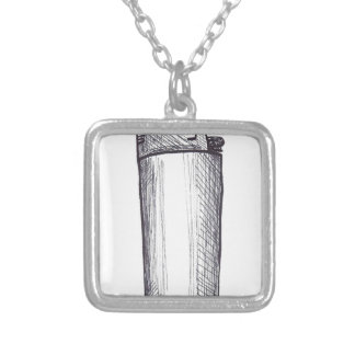 Lighter Ink Drawing Silver Plated Necklace