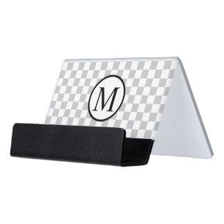 LightGreyCheckerboard Desk Business Card Holder
