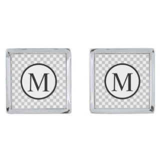 LightGreyCheckerboard Silver Finish Cuff Links