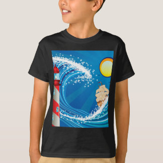 Lighthouse and Boat in the Sea 2 T-Shirt