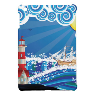 Lighthouse and Boat in the Sea 3 Case For The iPad Mini