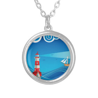 Lighthouse and Boat in the Sea 5 Silver Plated Necklace