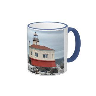 Lighthouse and coast print coffee mug