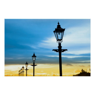 lighthouse and row of vintage lamps poster