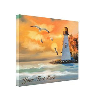 Lighthouse at Golden Sunset Canvas Print