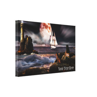 Lighthouse at Night with Giant Moon Canvas Print