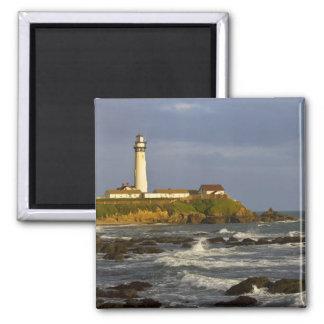 Lighthouse at Pigeon Point State Beach in San 2 Square Magnet
