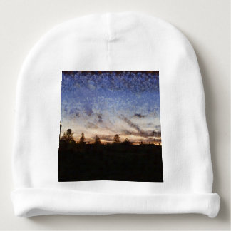 Lighthouse at sunset baby beanie