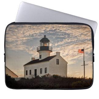 Lighthouse at sunset, California Laptop Sleeve