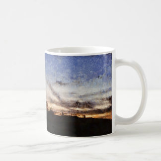 Lighthouse at sunset coffee mug