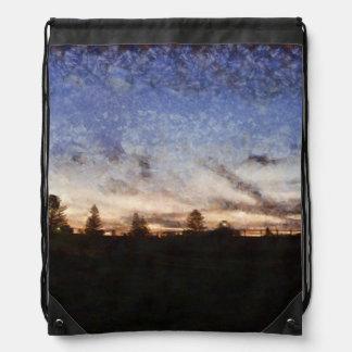 Lighthouse at sunset drawstring bag