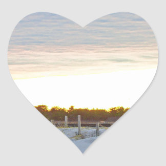 Lighthouse at Sunset Heart Sticker