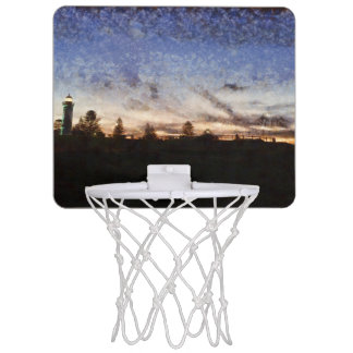 Lighthouse at sunset mini basketball hoop