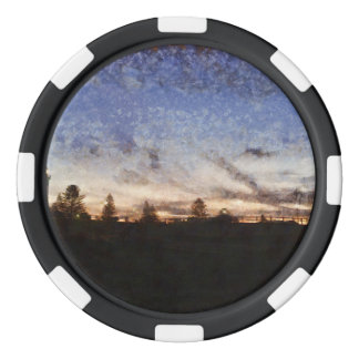 Lighthouse at sunset poker chips