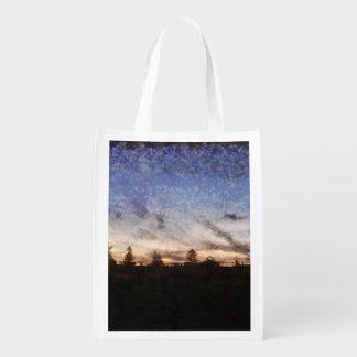Lighthouse at sunset reusable grocery bag