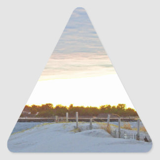 Lighthouse at Sunset Triangle Sticker