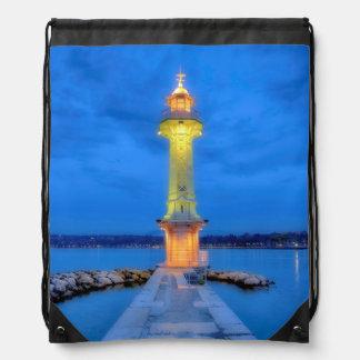 Lighthouse at the Paquis, Geneva, Switzerland Drawstring Bag